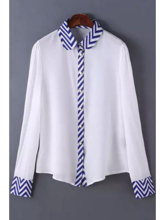 latest Blue Stripe Print Long Sleeve Shirt - AS THE PICTURE S