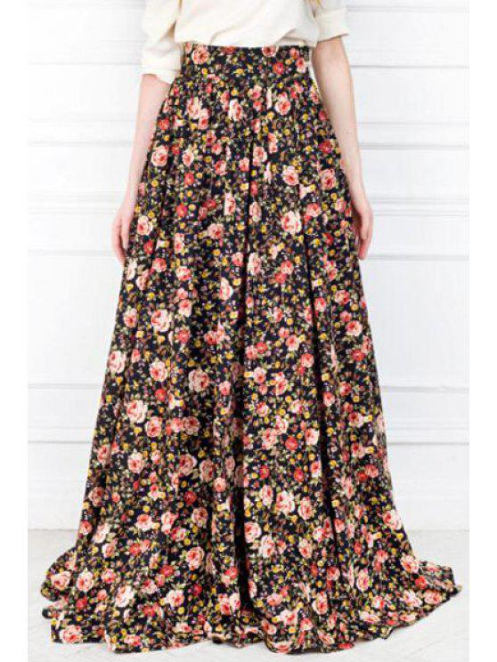 best Full Floral Print High Waisted Maxi Skirt - RED WITH BLACK L