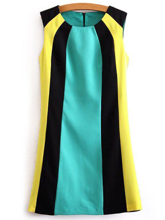 outfits Color Matching  Round Collar Sleeveless Dress - COLORMIX S