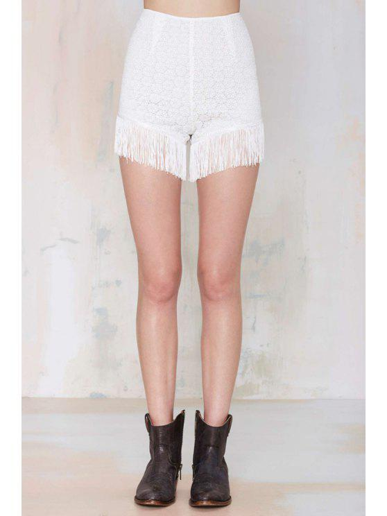 hot Tassels Spliced White Lace Shorts - WHITE S