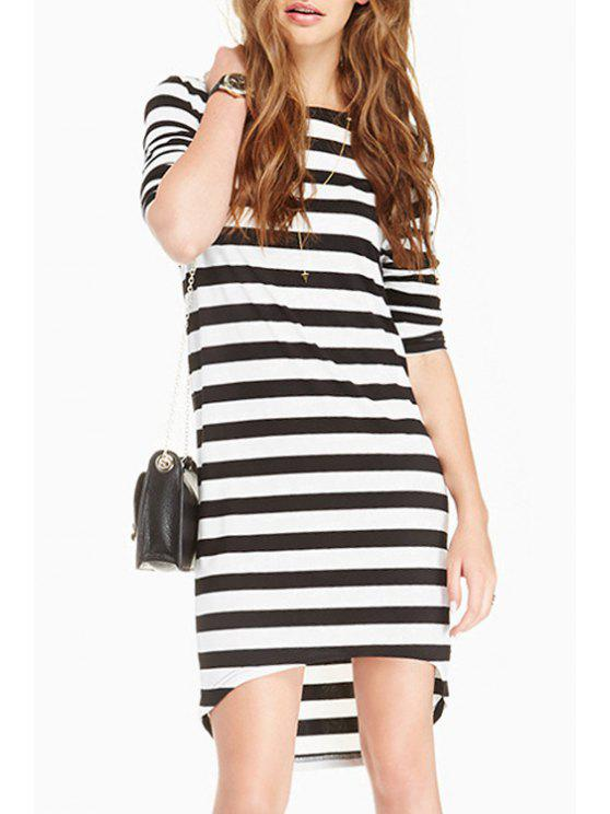 buy Long Sleeve Striped High Low Dress - WHITE AND BLACK L