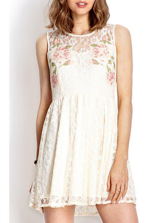 ladies Lace White Round Neck Sundress - WHITE L