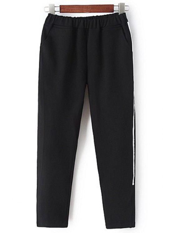 sale White Stripe Edging Elastic Waist Pants - BLACK M