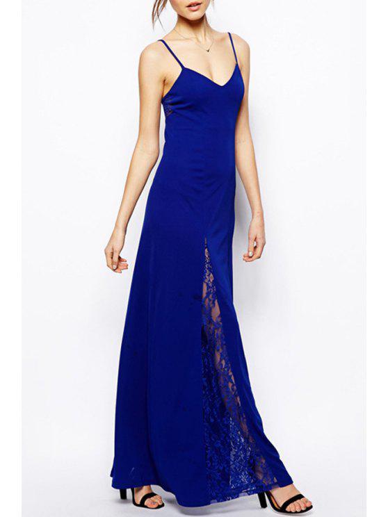 women's Lace Spliced Openwork Maxi Dress - BLUE S