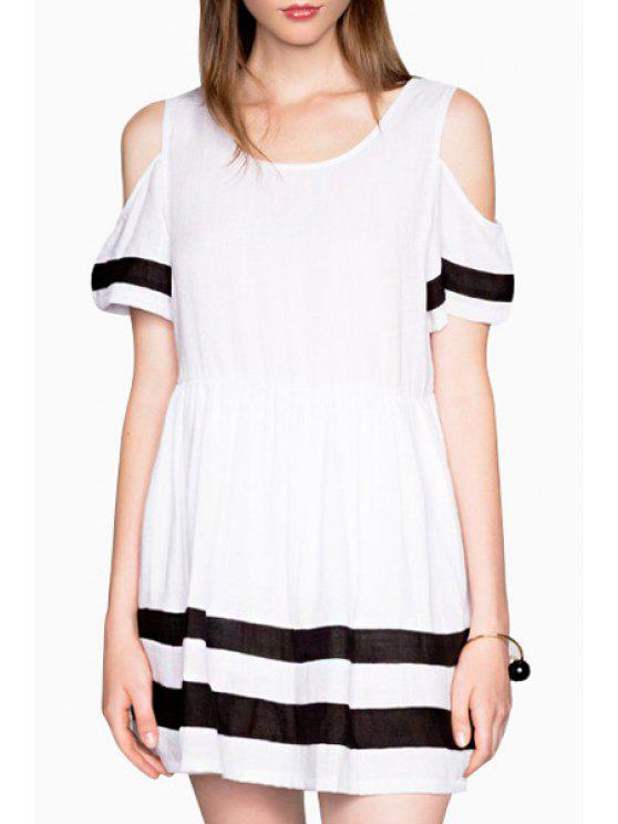 new Cut Out Stripes Short Sleeve Dress - WHITE XL