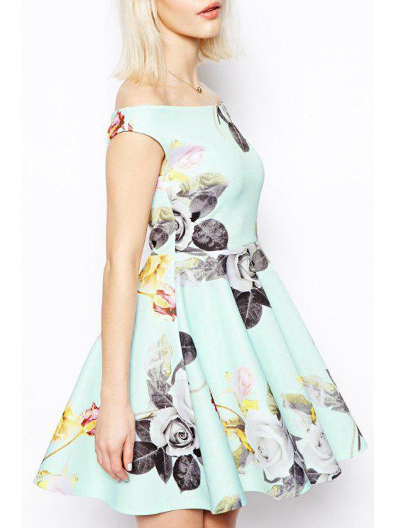 online Floral Print Slash Neck Flounce Dress - LIGHT GREEN S