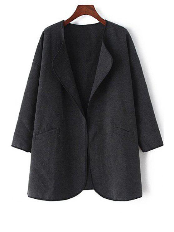 buy Pure Color Long Sleeve Trench Coat - BLACK L
