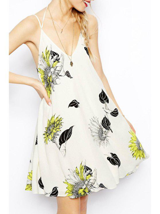 fancy Flower Print Cami Backless Dress - AS THE PICTURE S