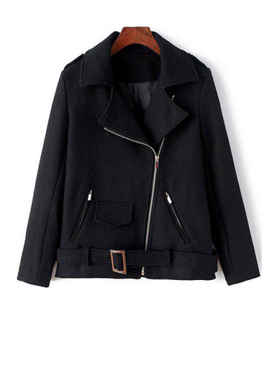 lady Turn-Down Collar Black Zipper Fly Coat - BLACK L