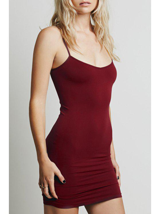 trendy Solid Color Cami Bodycon Dress - PURPLISH RED XL
