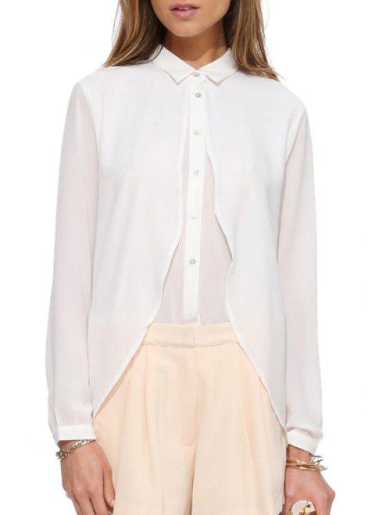 unique Ruffles Chiffon Shirt Neck Long Sleeve Shirt - WHITE S