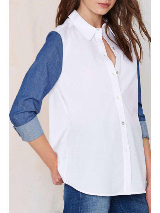 shop Denim Spliced Shirt Neck Long Sleeve Shirt - WHITE S