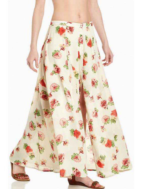 sale Floral Print High Split Skirt - BEIGE S