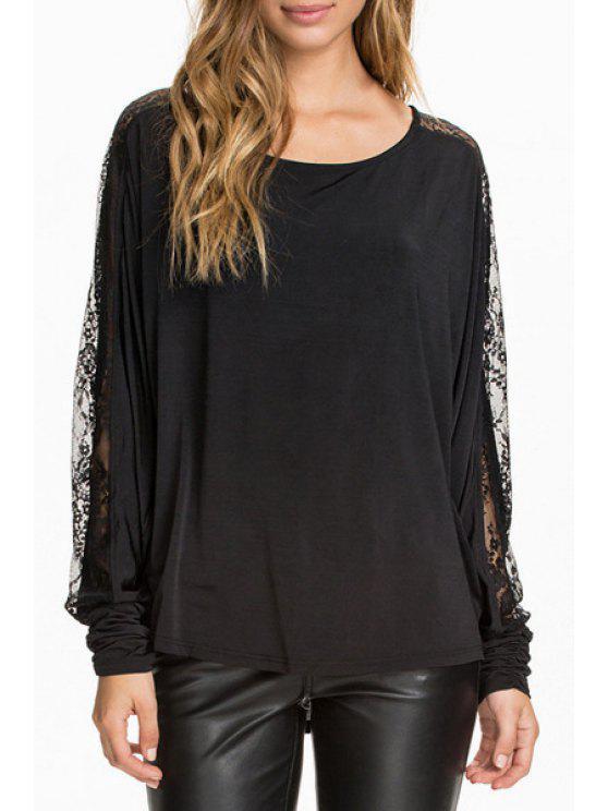 fancy Lace Spliced Long Sleeve Black T-Shirt - BLACK S