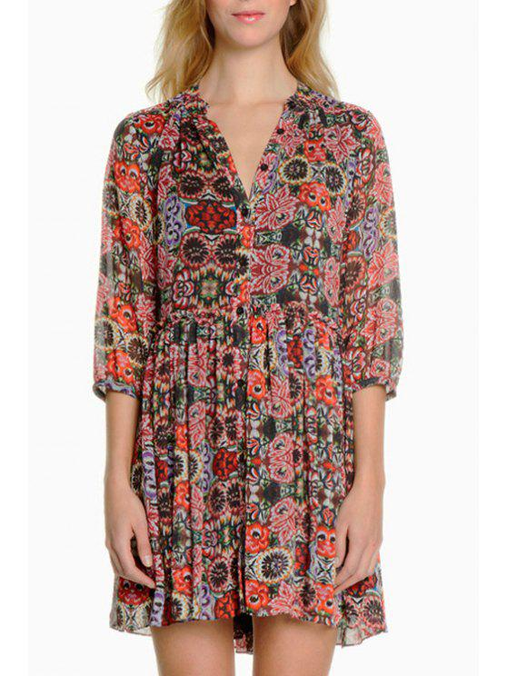 outfit Half Sleeve Full Floral Single-Breasted Dress - COLORMIX S