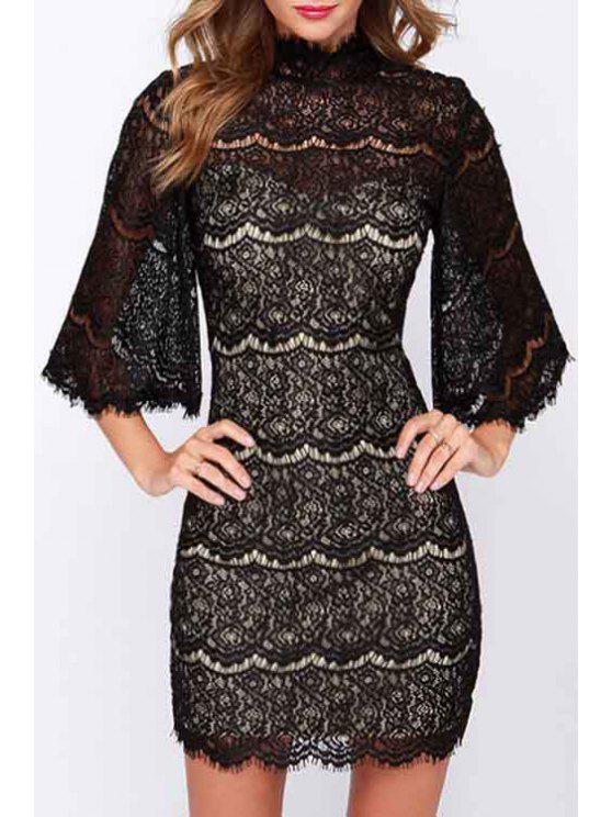 trendy Stand-Up Collar Black Lace Openwork Dress - BLACK S