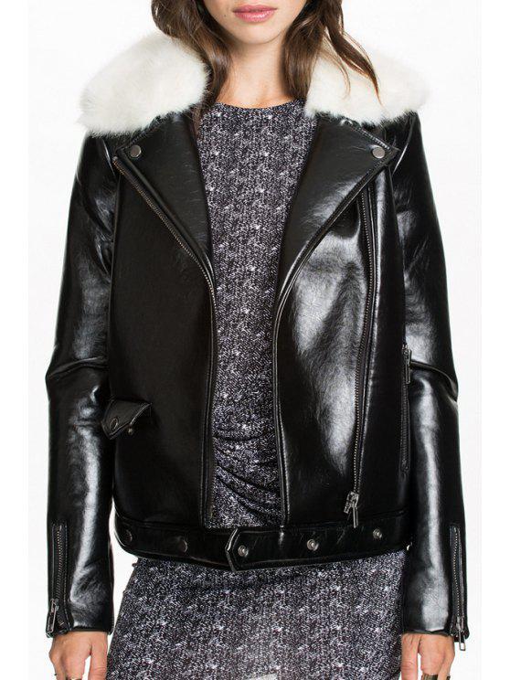ladies Turn Down Collar PU Leather Black Jacket - BLACK S