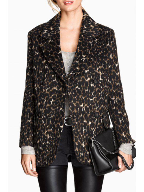 womens Lapel Leopard Double-Breasted Woolen Coat - LEOPARD S