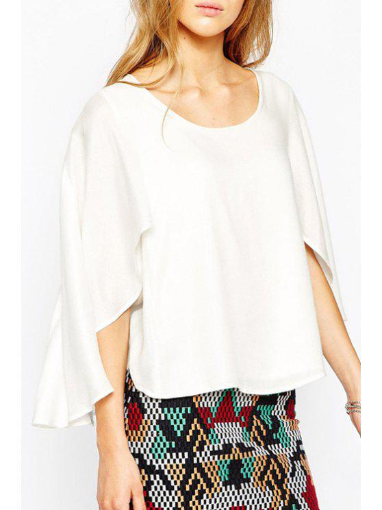 latest Low Back Chiffon White Cape Blouse - WHITE S