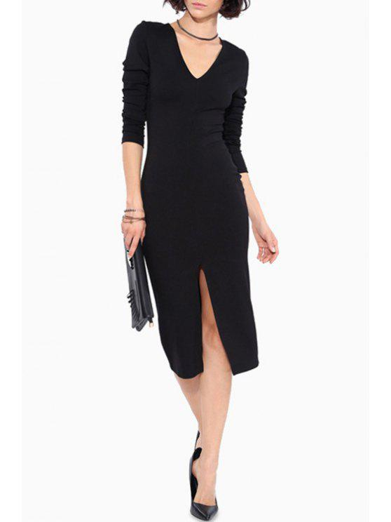 buy Long Sleeve Front Slit Bodycon Dress - BLACK L