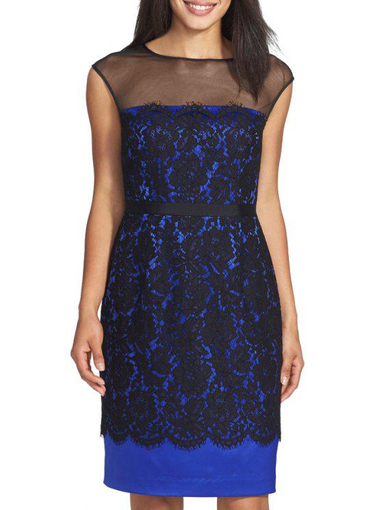 fashion Voile Spliced Sleeveless Slimming Dress - BLUE S