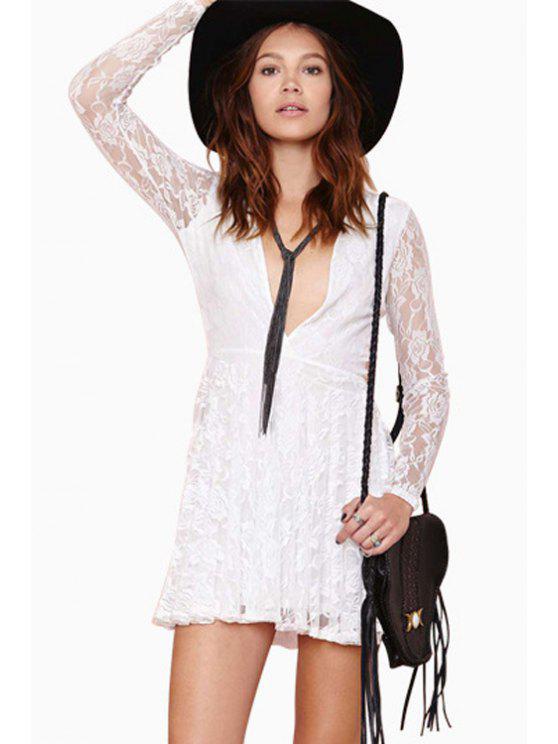fashion Plunging Neck Long Sleeve Lace Dress - WHITE S