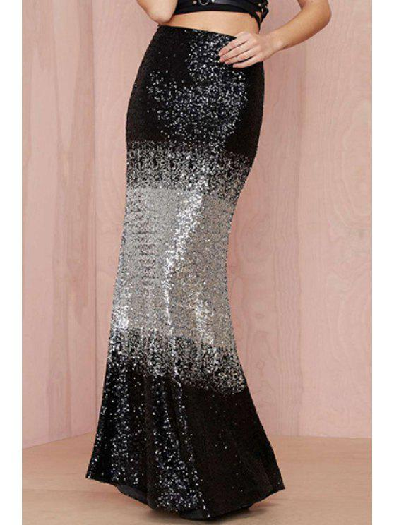 women's Black Silver Splicing Sequins Skirt - BLACK AND GREY S