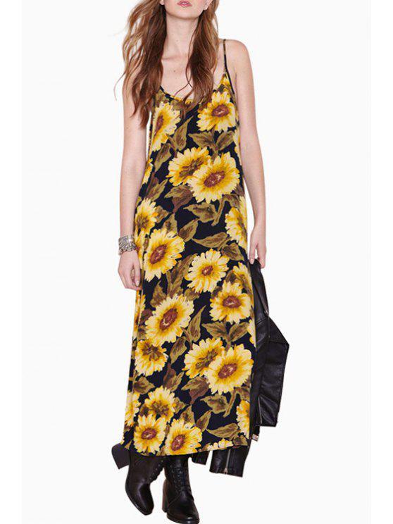 ladies Sleeveless Sunflower Print Maxi Dress - YELLOW S