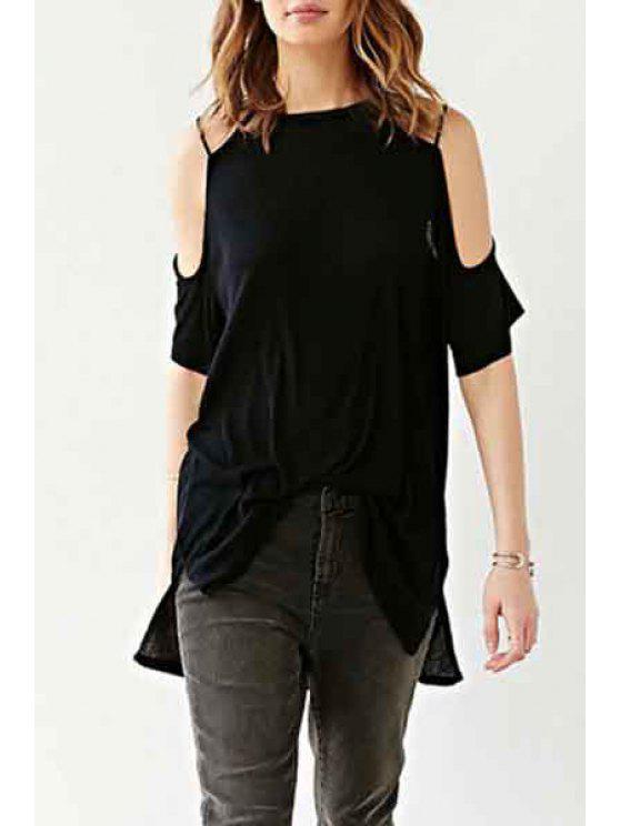 womens Black Backless High Low Short Sleeve T-Shirt - BLACK S