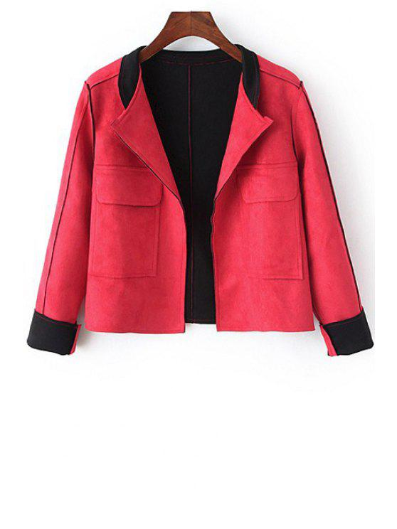 fancy Solid Color Lapel Neck Long Sleeves Jacket - RED M