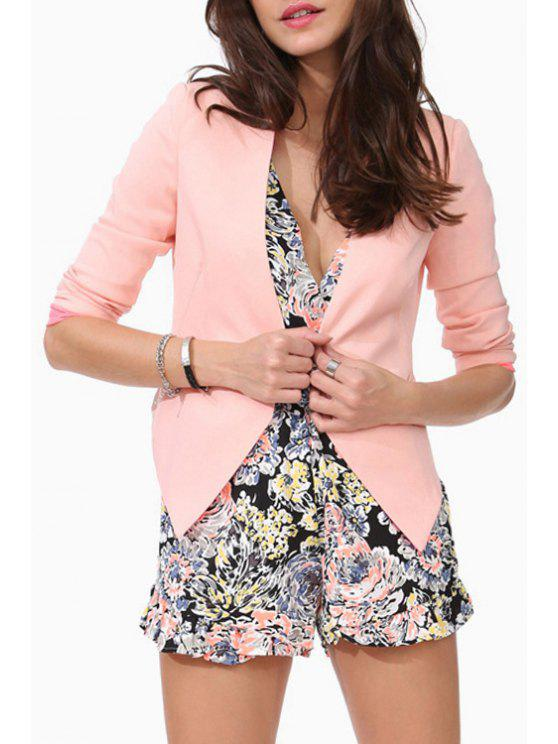 outfit Candy-Colored Irregular Hem Blazer - PINK L