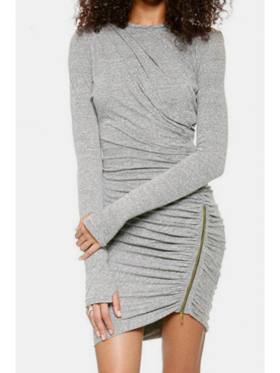 hot Long Sleeve Ruched Gray Bodycon Dress - GRAY L