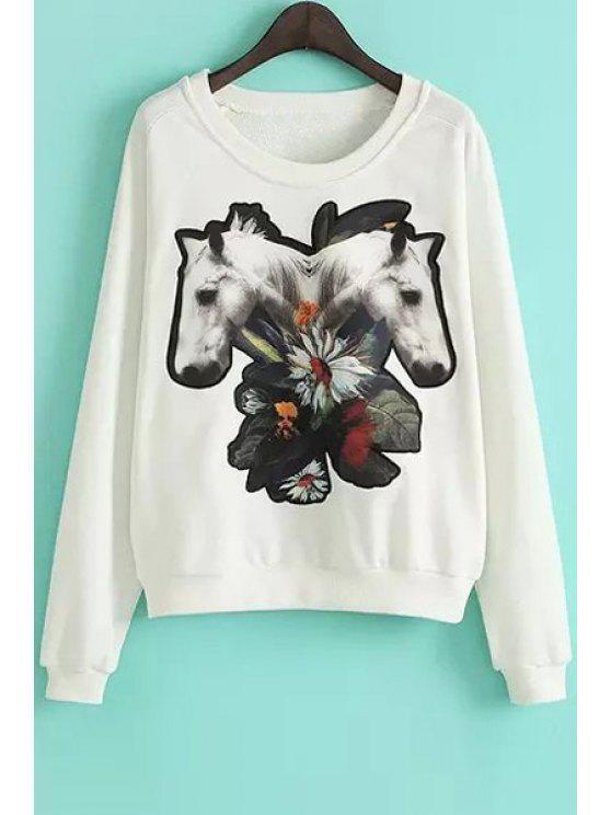 chic Long Sleeves Horse Print Sweatshirt - WHITE M