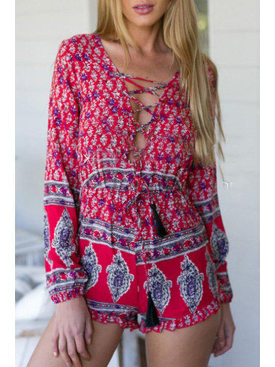 affordable Plunging Neck Long Sleeve Playsuit - RED S