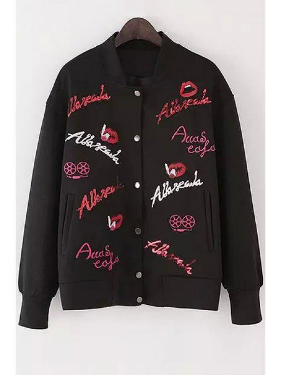 hot Letter Embroidery Stand Neck Long Sleeve Jacket - BLACK S