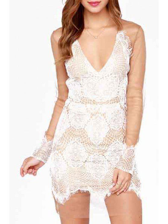 buy Deep V Neck See-Through Lace Splicing Dress - WHITE L