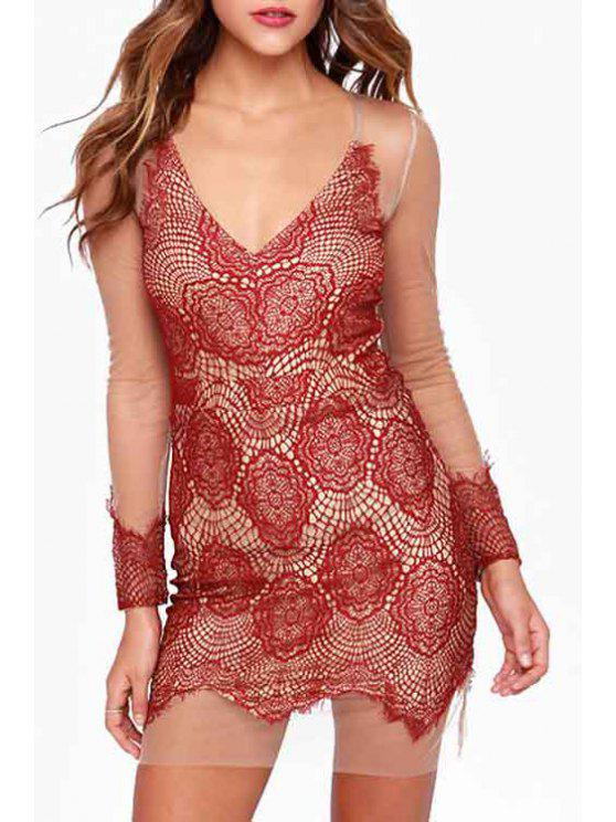 shop Deep V Neck See-Through Lace Splicing Dress - RED 2XL