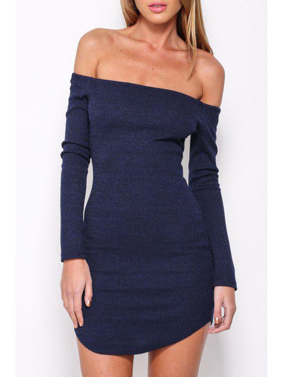 hot Off-The-Shoulder Bodycon Dress - DEEP BLUE L