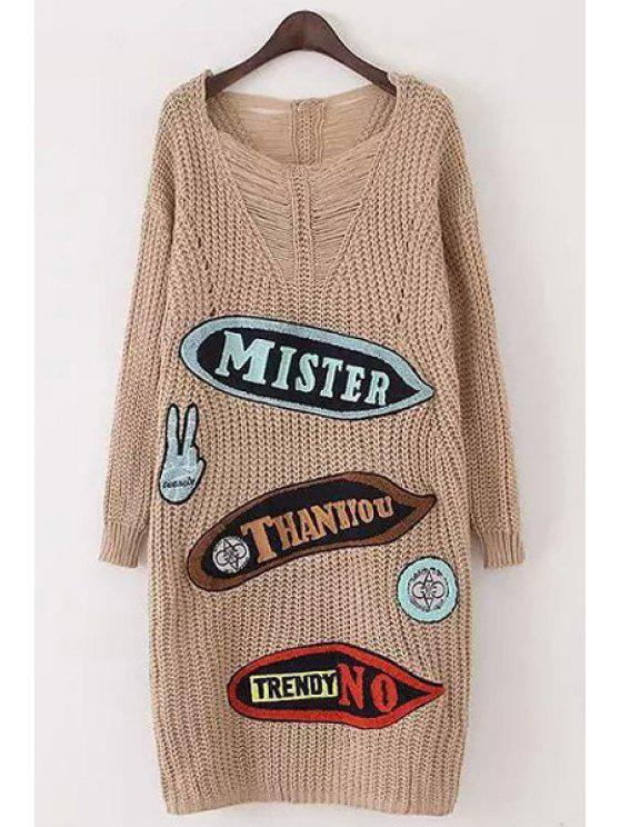 lady Letter Pattern V Neck Long Sleeve Jumper - KHAKI ONE SIZE(FIT SIZE XS TO M)