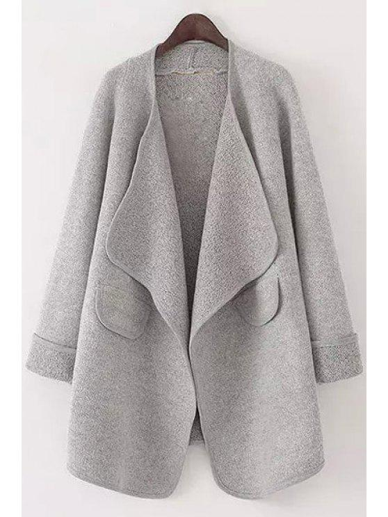 hot Pure Color Turn Down Collar Long Sleeve Cardigan - GRAY L