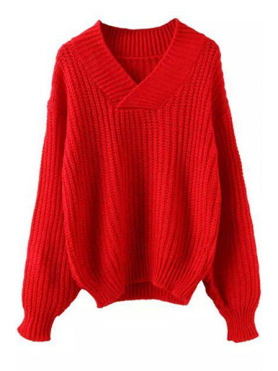 chic Pure Color V Neck Long Sleeves Jumper - RED ONE SIZE(FIT SIZE XS TO M)