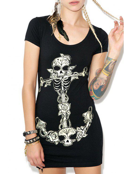 latest Skull and Skeleton Print Bodycon Dress - BLACK L