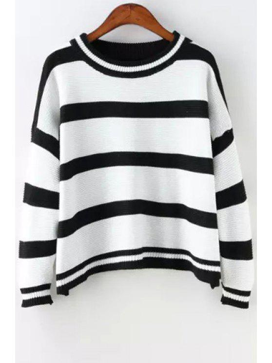 women Striped Jewel Neck Long Sleeves Jumper - WHITE AND BLACK ONE SIZE(FIT SIZE XS TO M)