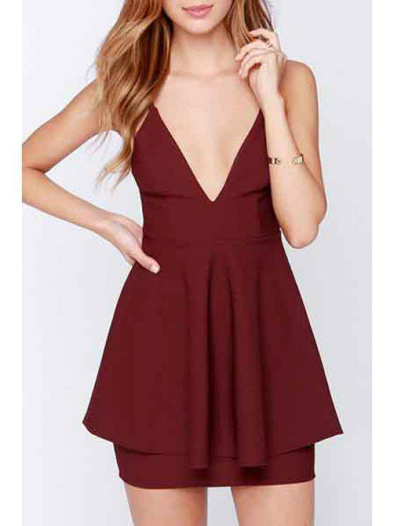 trendy Deep V Neck Backless Solid Color Dress - WINE RED S