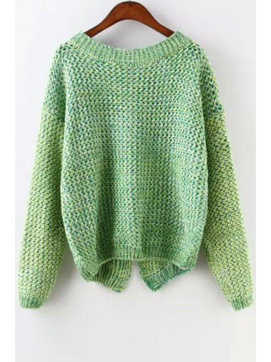 women's Back Slit Scoop Neck Long Sleeve Jumper - GREEN ONE SIZE(FIT SIZE XS TO M)