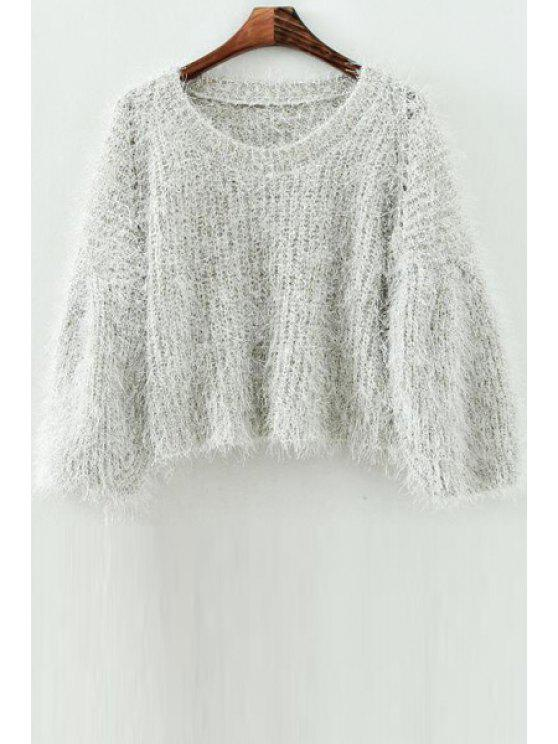 online Mohair Scoop Neck Long Sleeve Jumper - OFF-WHITE ONE SIZE(FIT SIZE XS TO M)