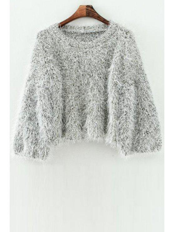 hot Mohair Scoop Neck Long Sleeve Jumper - GRAY ONE SIZE(FIT SIZE XS TO M)