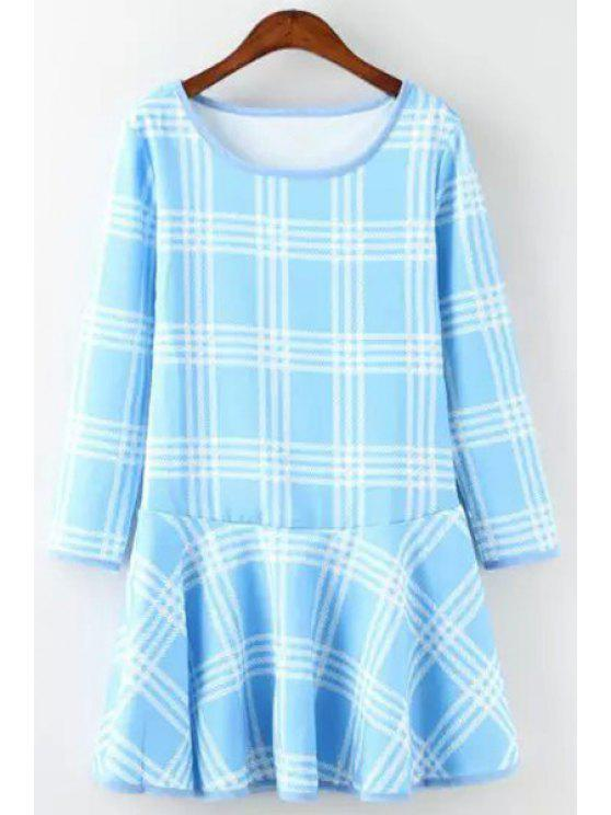 fashion Plaid Print Long Sleeves A Line Dress - BLUE S