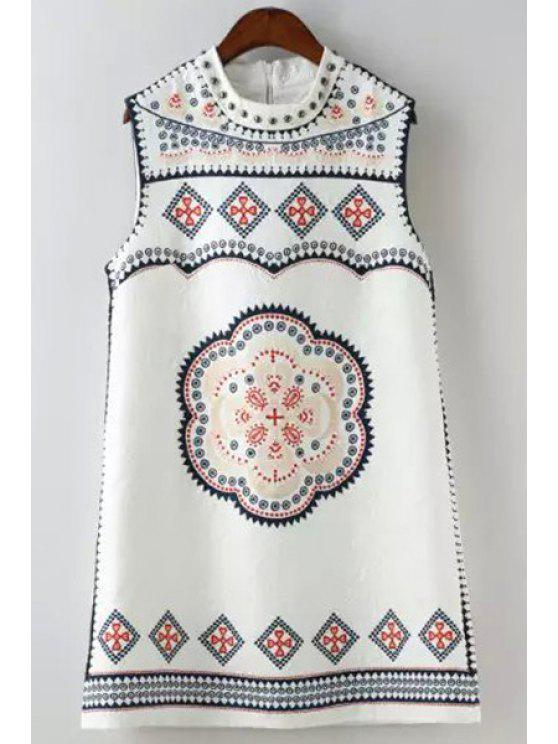 new Ethnic Print Round Neck Sleeveless Dress - WHITE L