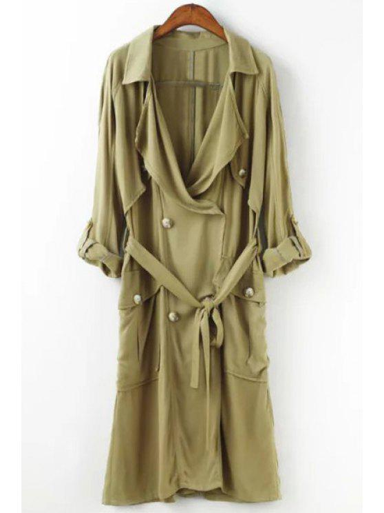 trendy Solid Color Long Sleeves Lapel Trench - BLUISH YELLOW S